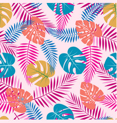 pattern with color palm leaves vector image