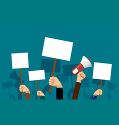 people hold banners and posters in their hands vector image