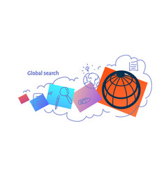 Planet earth map global search concept sketch vector