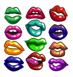 pop art sexy colorful female lips vector image