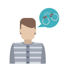 prisoner and handcuffs in bubble vector image