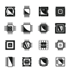 Processor icons set simple central vector