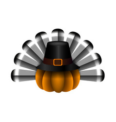 Pumpkin with a pilgrim hat vector
