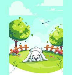 Rabbit on green background vector
