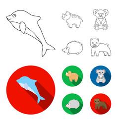 Rhino koala panther hedgehoganimal set vector