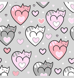 seamless pattern cats hearts on a grey background vector image