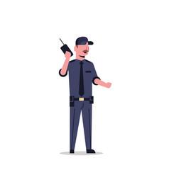 security guard man in black uniform holding radio vector image