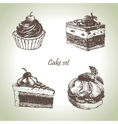 Set cakes vector