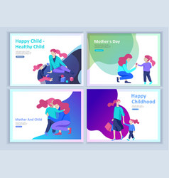 Set of landing page templates for happy fathers vector