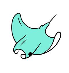 Skate blue color icon swimming stingray vector