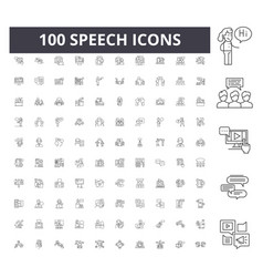 speech line icons signs set outline vector image