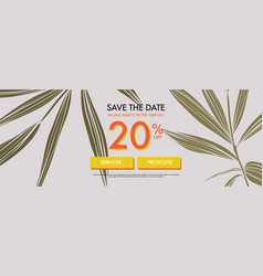 summer vibes leaves and text banner promotion vector image
