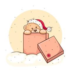 Teddy Bear in box vector image
