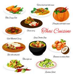 thai cuisine menu thailand asian food dish plates vector image