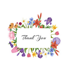 thank you card with spring flowers floral card vector image