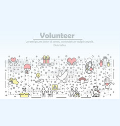 Thin line volunteer poster banner template vector