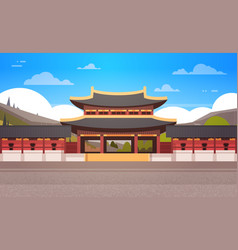 Traditional korea temple over mountains landscape vector
