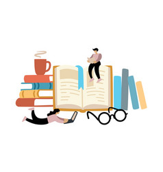 two people are reading books man and woman learn vector image