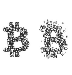 vextor broken bitcoin blockchain and crypto vector image