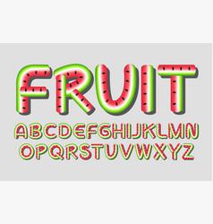 watermelon fruit alphabet vector image
