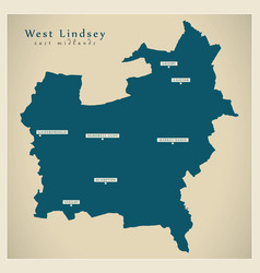 West lindsey district map - england uk vector