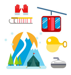 Winter sport icons set ski gondola vector