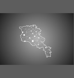 Wireframe mesh polygonal armenia map abstract vector