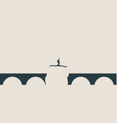 Woman jumping over a gap in the bridge vector