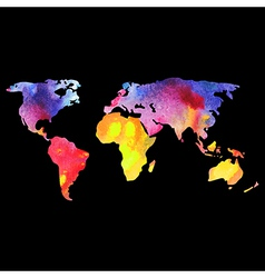 World map painted with watercolors painted world vector image