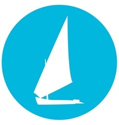 Yacht silhouette on circle background vector image