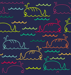 abstract sea background with seamless pattern vector image