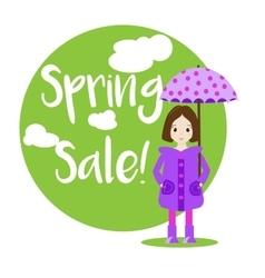 Cartoon girl character Sale banner vector image vector image