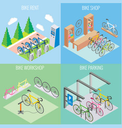 city bike concept in isometric style vector image
