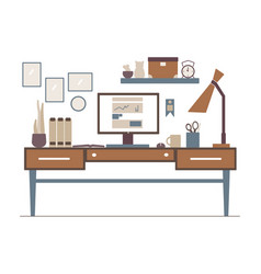 line workplace in flat style interior outline vector image vector image