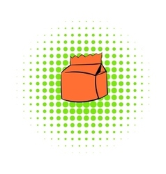Milk or juice carton package icon comics style vector image