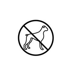 no dog line icon prohibition sign forbidden vector image