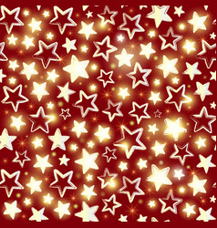 seamless pattern with shining stars on red vector image vector image