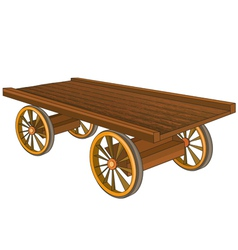 Vintage wooden cart isolated vector image