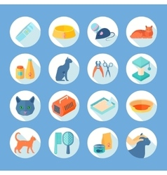 Cat care flat round icons set vector image