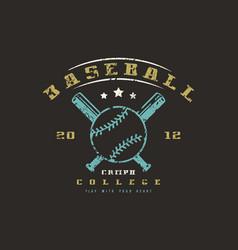 emblem of baseball college team vector image vector image