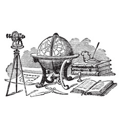 globe or multiple instruments used for navigation vector image vector image