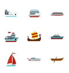 sailing icons set flat style vector image