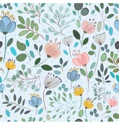 Seamless pattern Watercolor flowers vector image