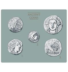 ancient greece antique symbols silver coins tetra vector image