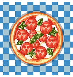 Italian pizza Margarita with tomatoes cheese and vector image