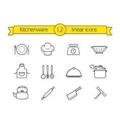 Kitchenware line icons set vector image