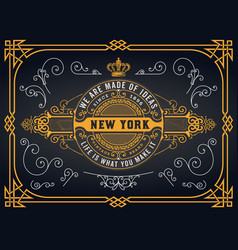 old logo with baroque elements vector image