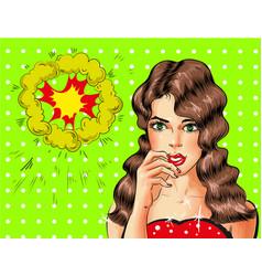 pop art beautiful sexy brunette woman vector image