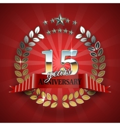 Anniversary 15th gold wreath with red ribbon vector image vector image