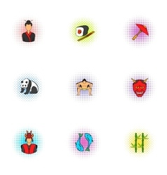 Attractions of Japan icons set pop-art style vector image vector image